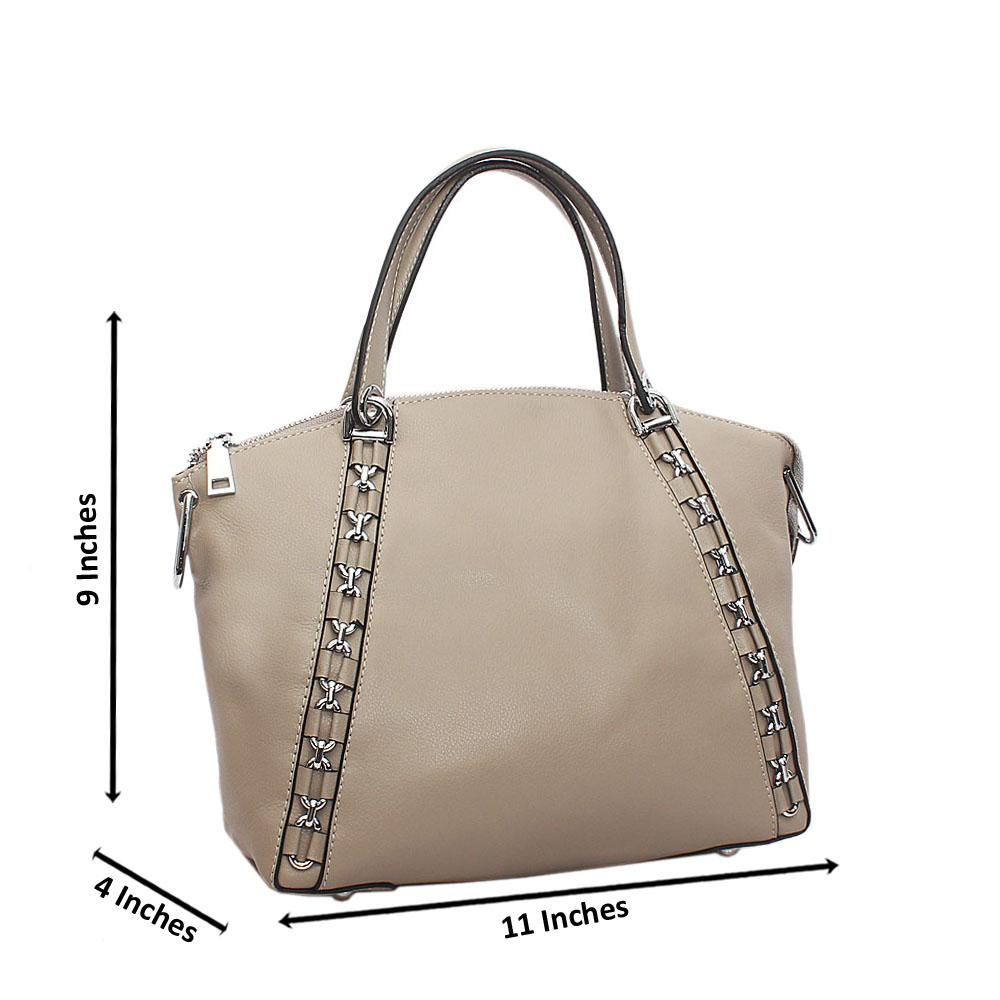 Gray Metal Inverse Tuscany Leather Handbag