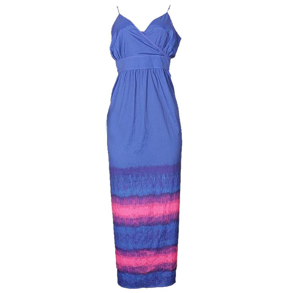Bryant Blue/Pink Sleeveless Ladies Long Dress-Uk20