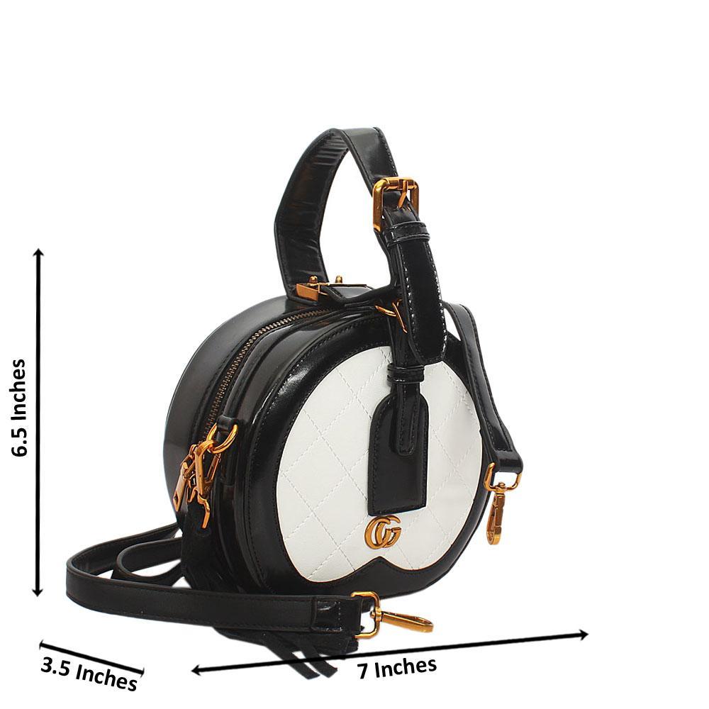 Black White Liliana Round Leather Mini Top Handle Handbag