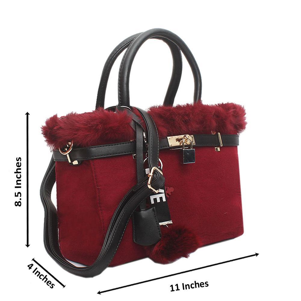 Red Furry Medium Handbag