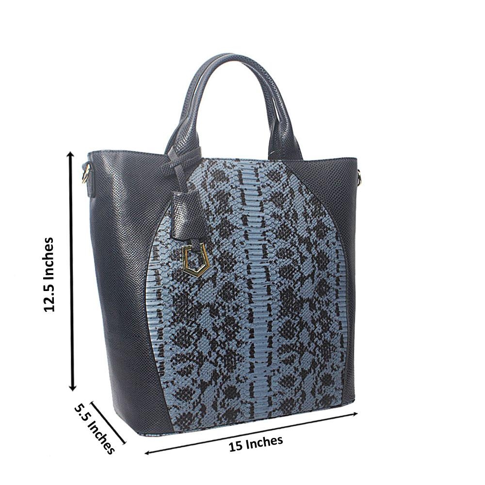 Meliana Blue Narrow Snake Montana Leather Tote Handbag
