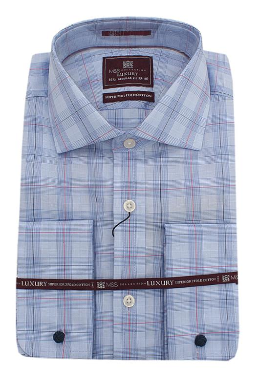 M&S Luxury Blue Red Check 2 Fold Cotton Regular Fit L/Sleeve Men Shirt Wt C