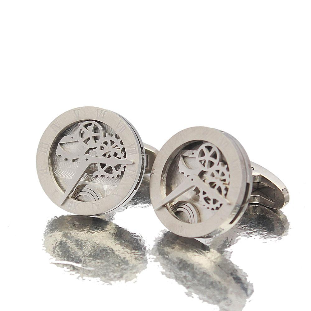 Man Of Steel Silver Time Piece Stainless Steel Cufflinks