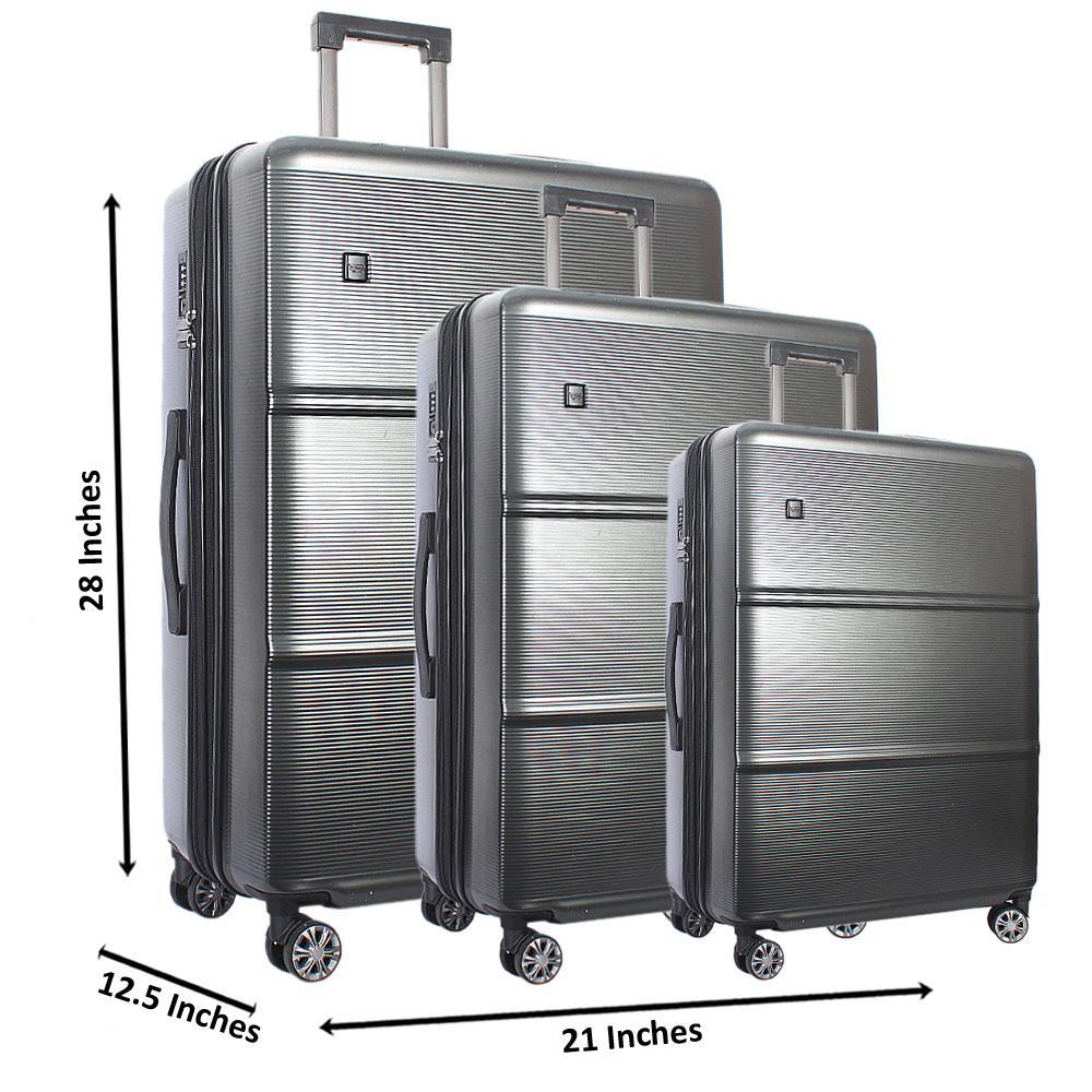 Gray 28 Inch wt 24 and 20 Inch 3 in 1 Premium Shell Luggage Set Wt TSA Lock