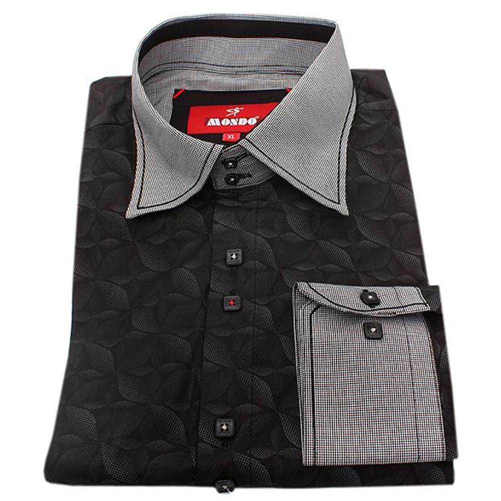 Mondo Black/Grey Cotton L/Sleeve Slim Fit Men Shirt