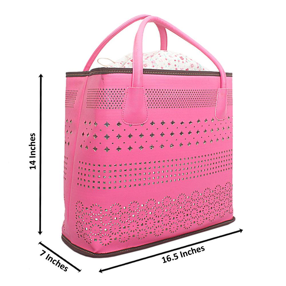 London Style Pink Leather Tote Bag