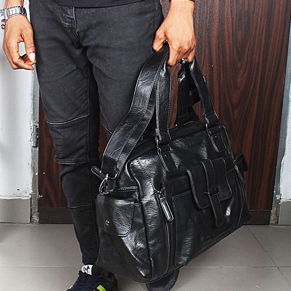 Caramelo Black Center Pocket Cassania Leather Man Bag