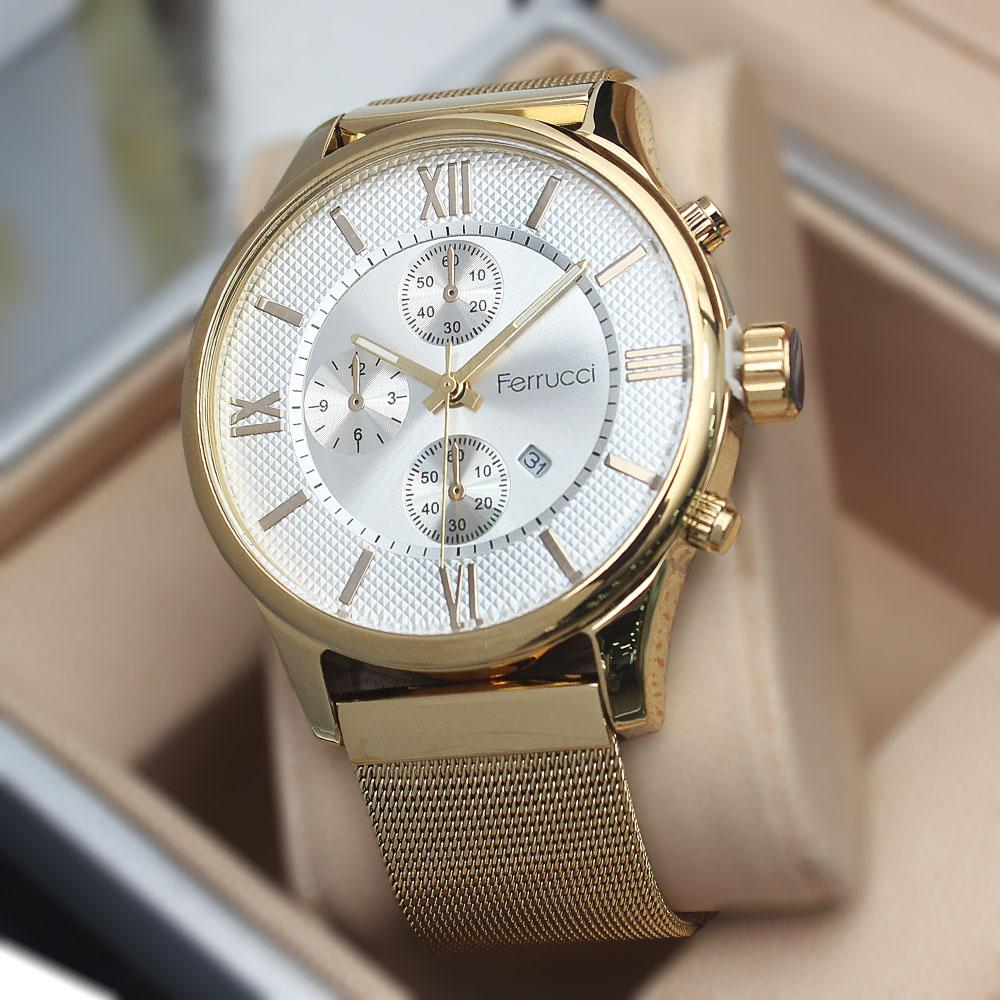 Ferruci Anecdotal White Gold Mesh Watch