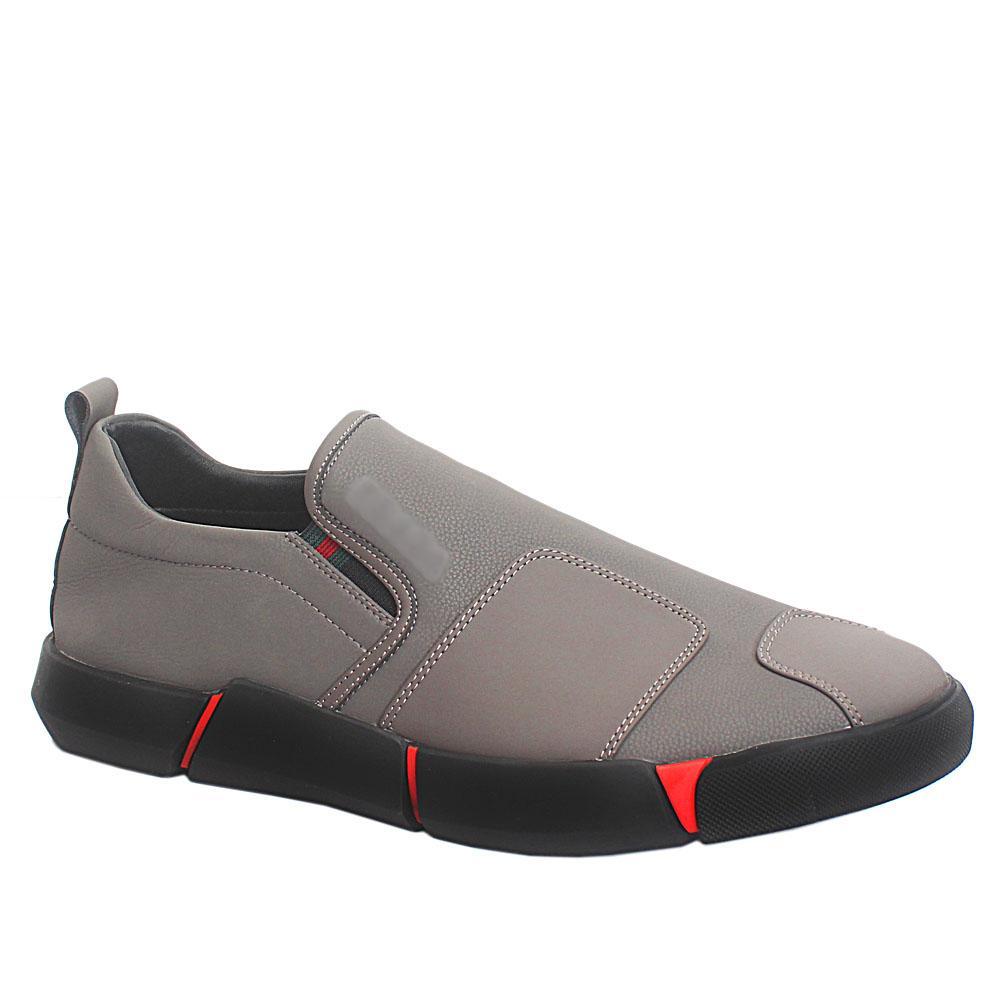 Grey Leather Comfort Fit Men Sneakers