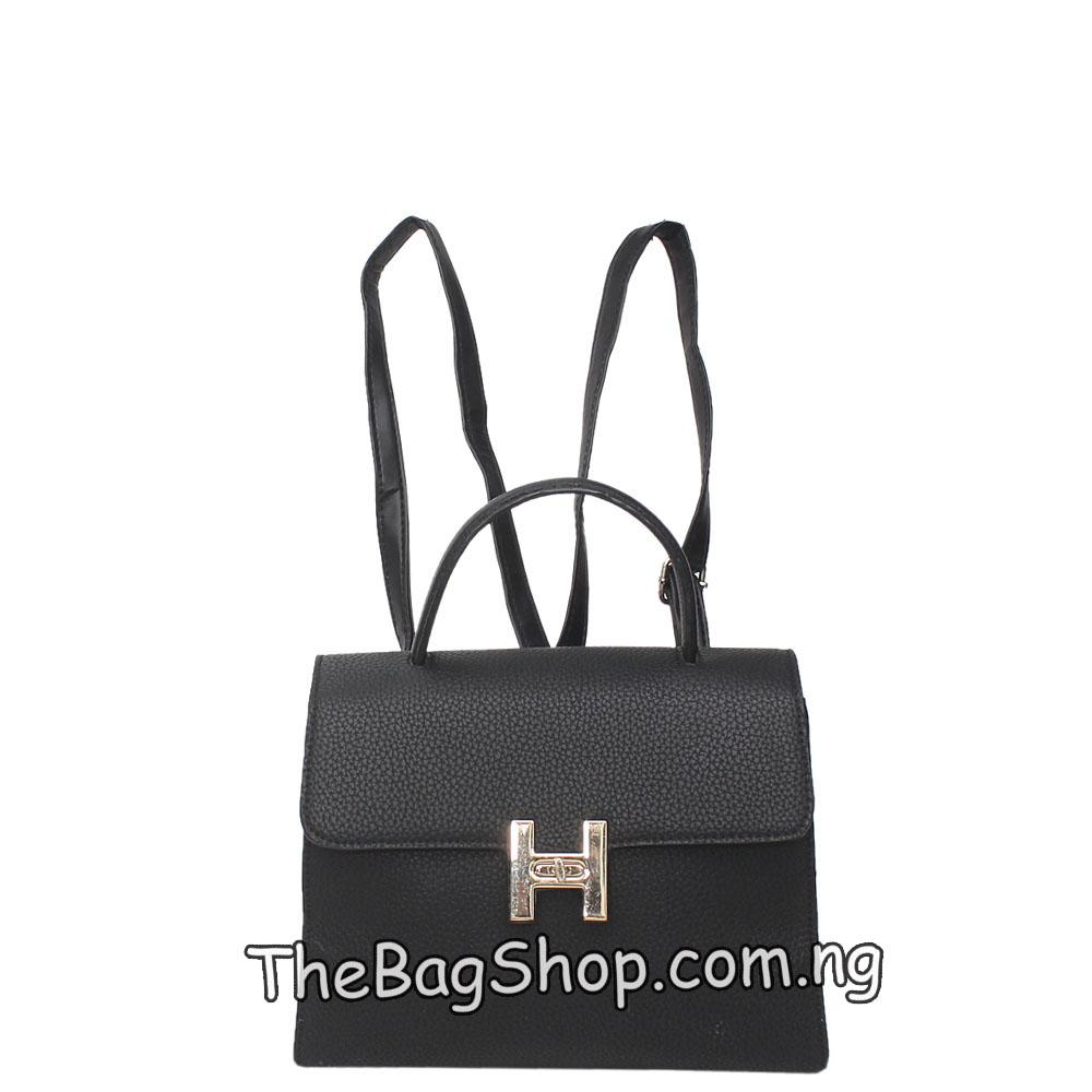 London Style Black Leather Back Pack Bag