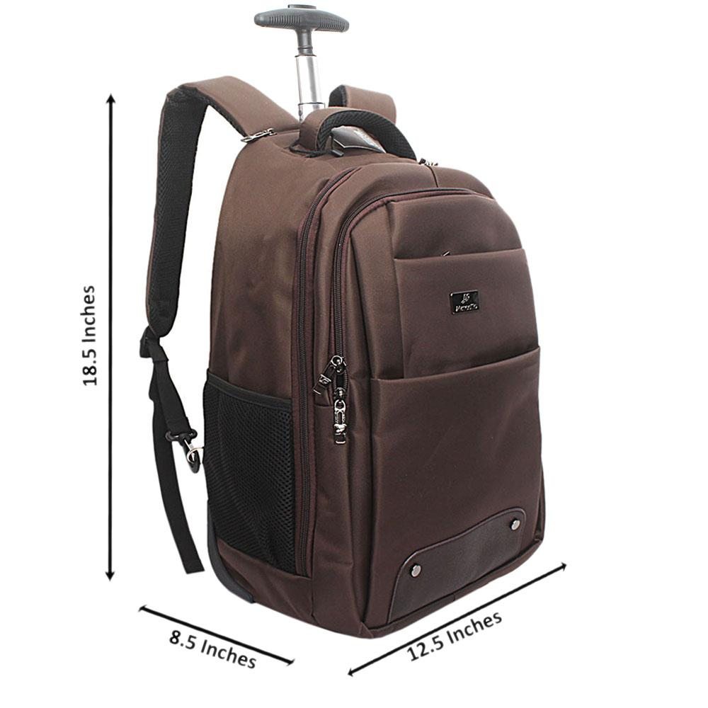Marcello Brown Premium Fabric Trolley Backpack