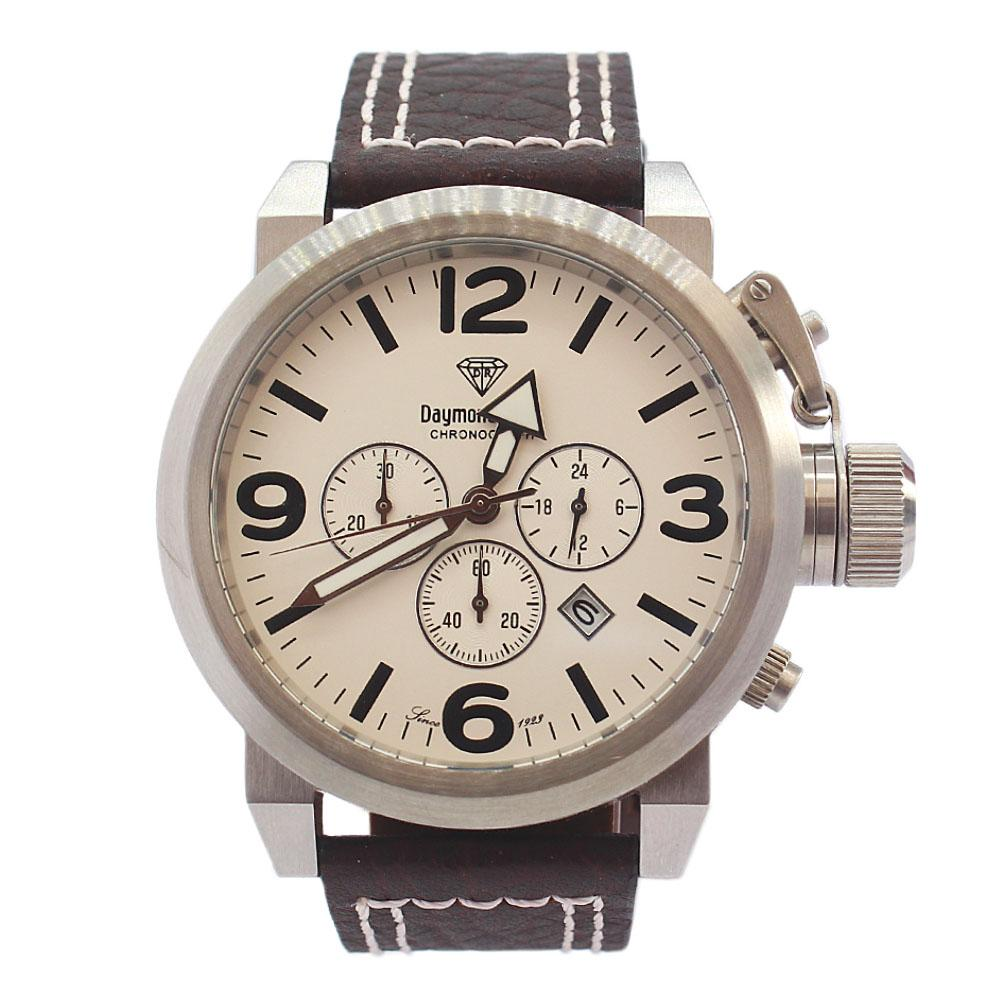 DR 10ATM Silver Coffee Leather Bolt Chronograph Watch