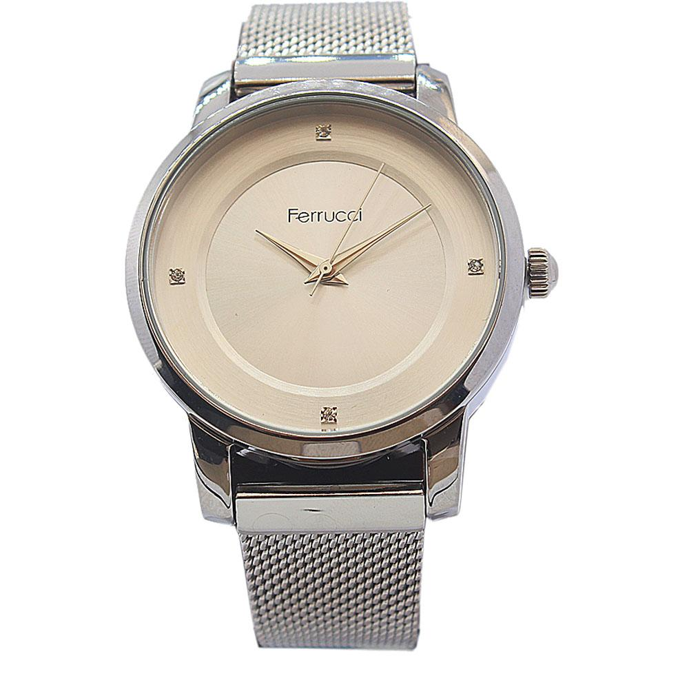 Ferrucci Empire Silver Stainless Steel Mesh Ladies Watch