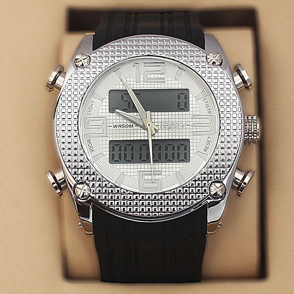 Vegans Black Silver Rubber 5 ATM Water Resistant Analog Digital Watch