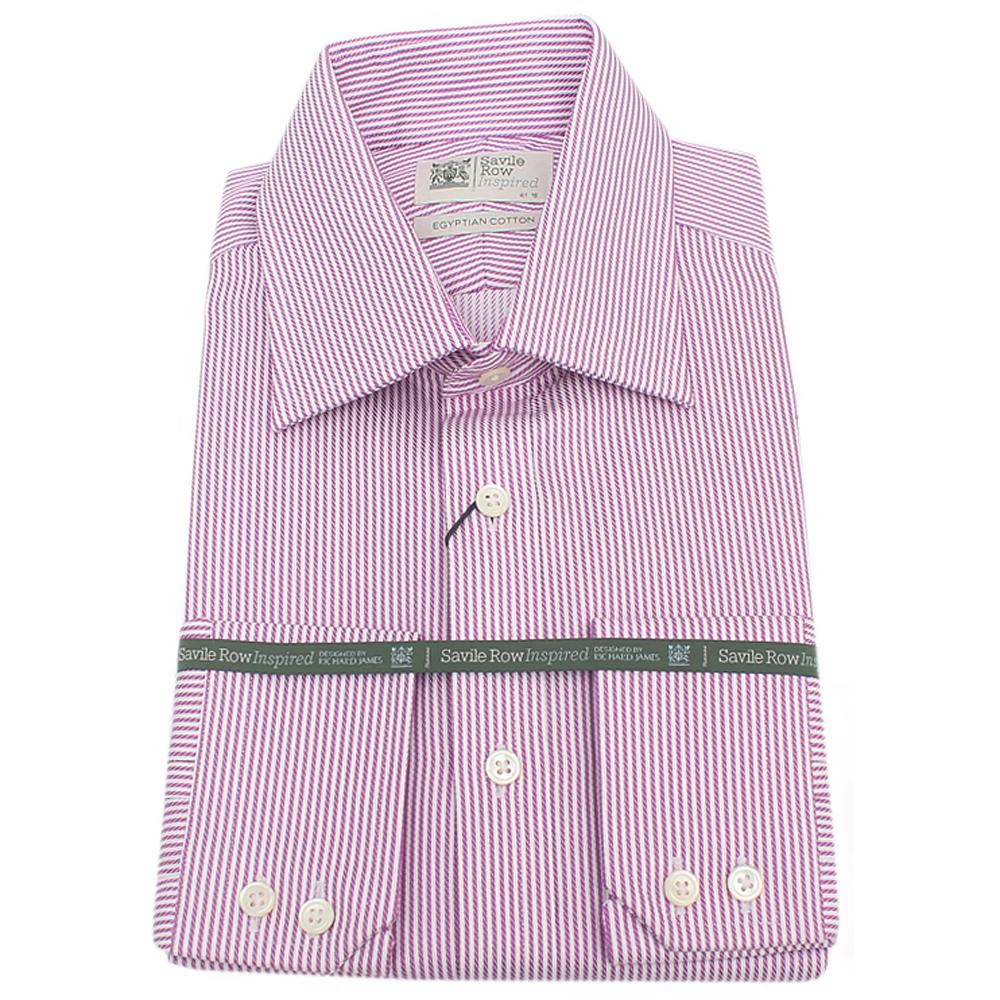 Savile Row Egyptian Cotton White Purple Striped L/Sleeve Shirt