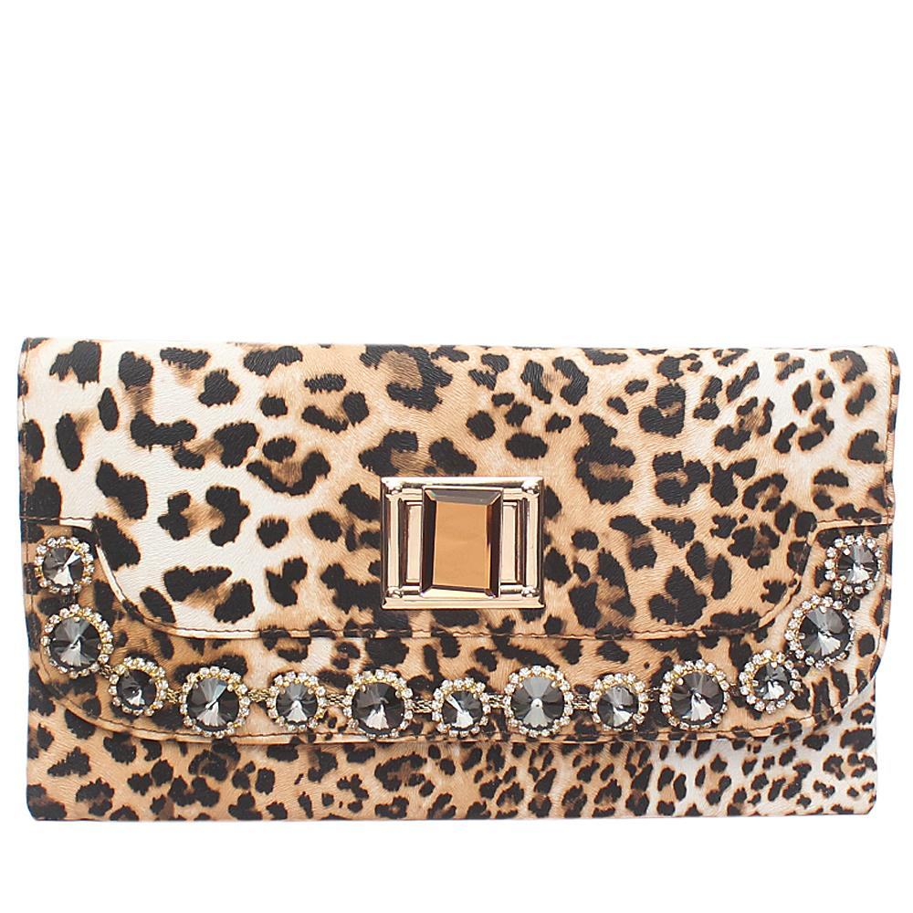 Fashion Animal Skin Studded Leather Ladies Clutch Bag