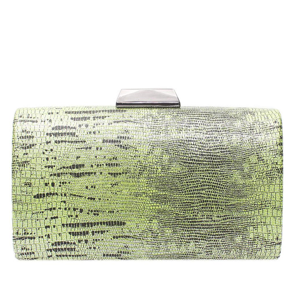 Green Mix Animal Skin Hard Clutch