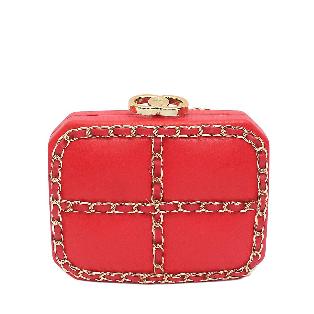 Red Royal Push-Down Clutch Purse