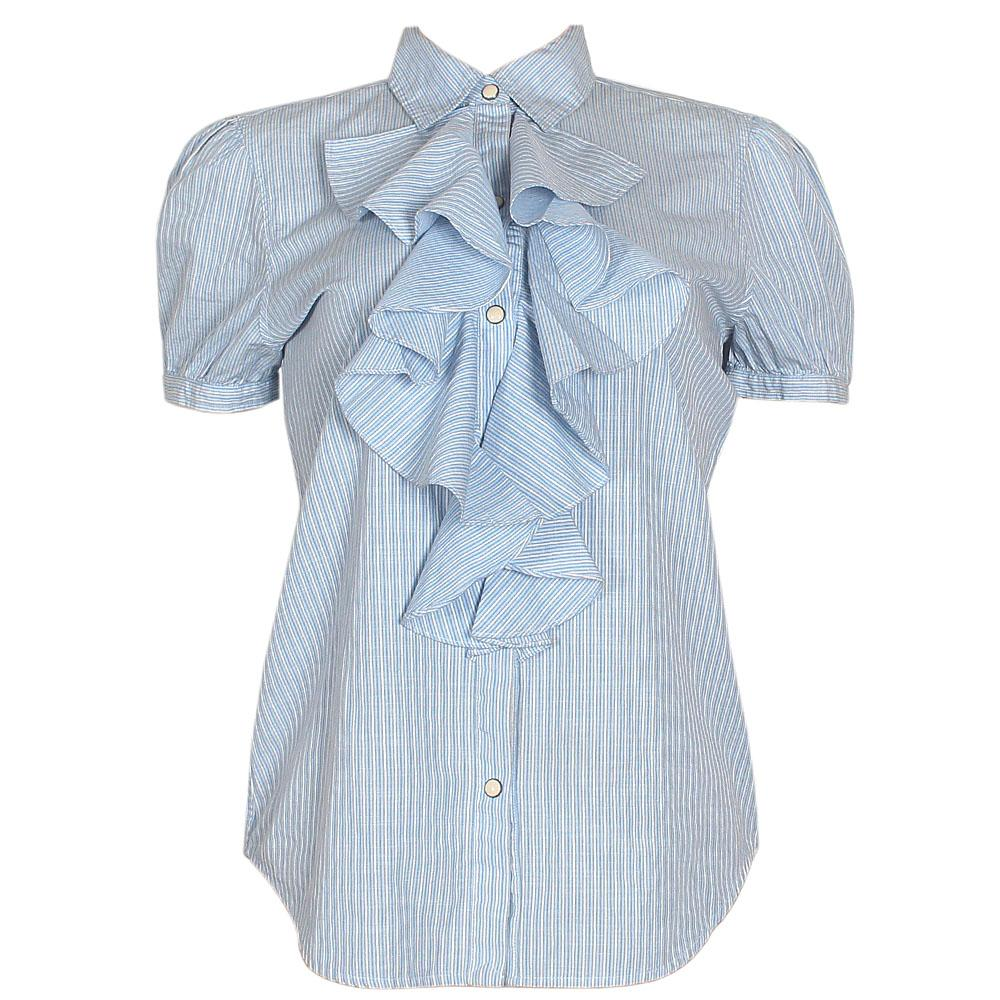 Ralph Lauren Blue/White Stripe Ladies Blouse Wt Ruffles Design Sz M