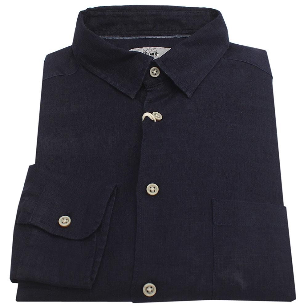 M & S Navy Pure Linen L/Sleeve  Regular Fit Men Casual Shirt
