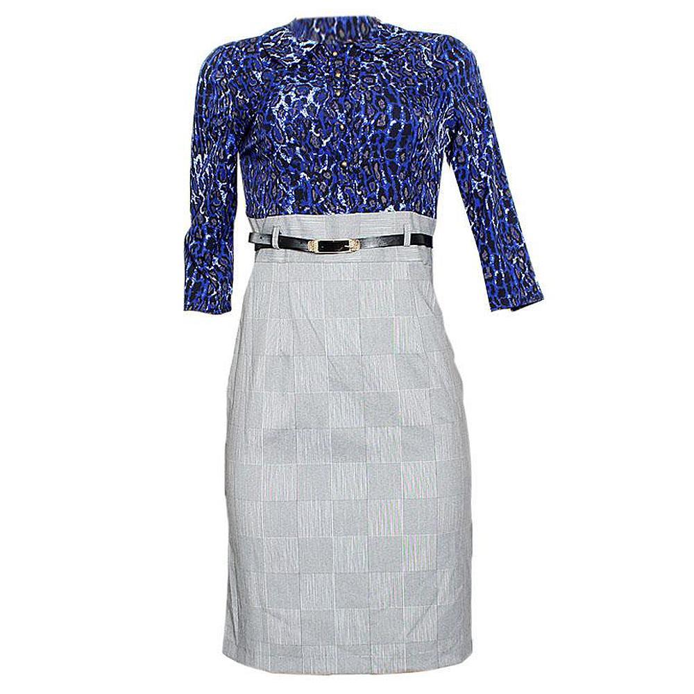 L V J Blue Gray Cotton Dress