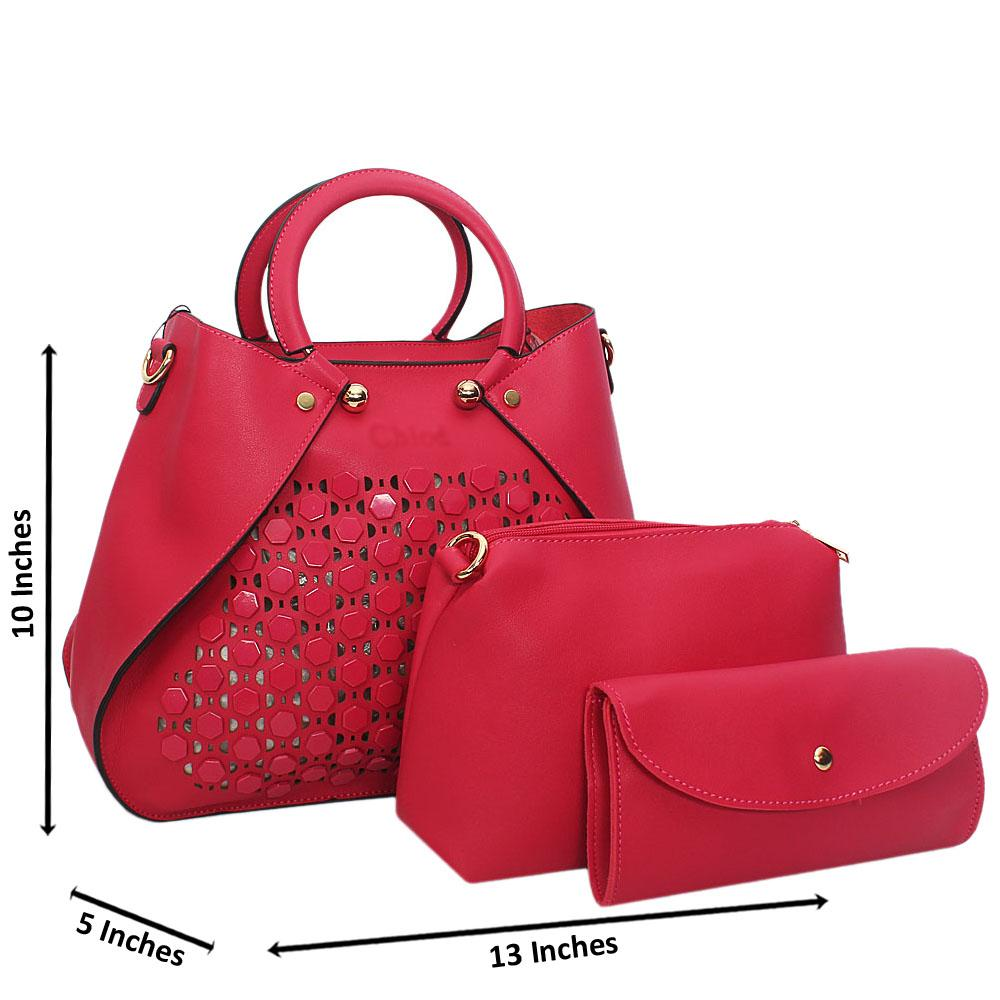 Pink-Rose-See-Through-Leather-3-in-1-Tote-Handbag