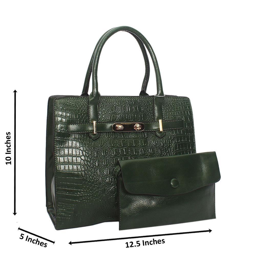 Green Scarlett Croc Leather Tote Handbag