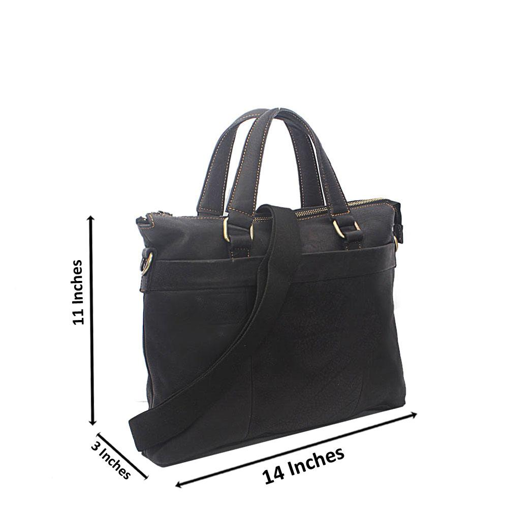 Black Mini Modern Men Handmade LeatherTote Bag