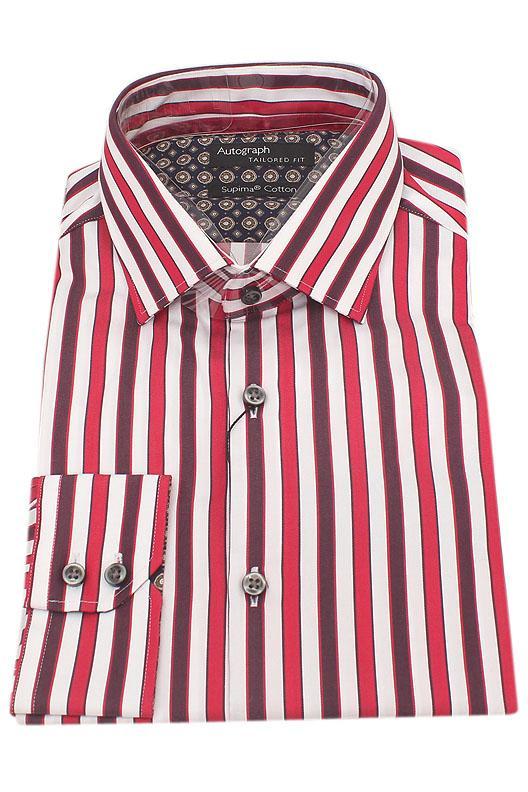 Autograph Red White Stripe Supima Cotton Men Shirt