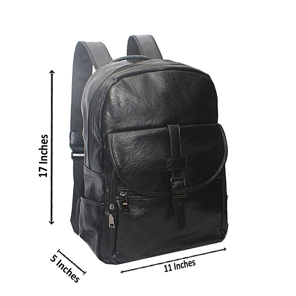 Casania Black Buckle Clip Leather Backpack
