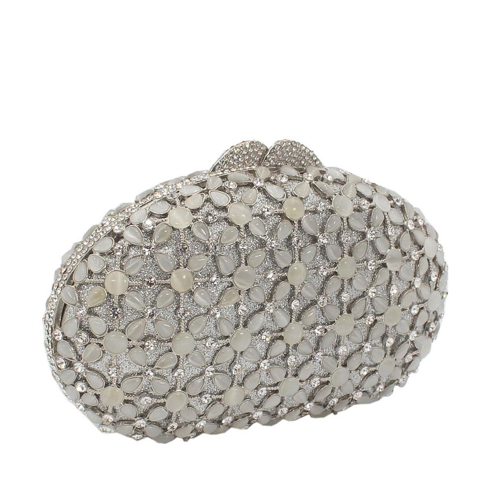 Silver Star Pearls Diamante Crystal Clutch Purse