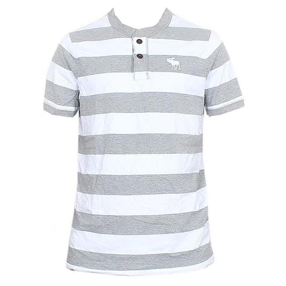 Abercrombie Grey White Cotton Men's T-Shirt
