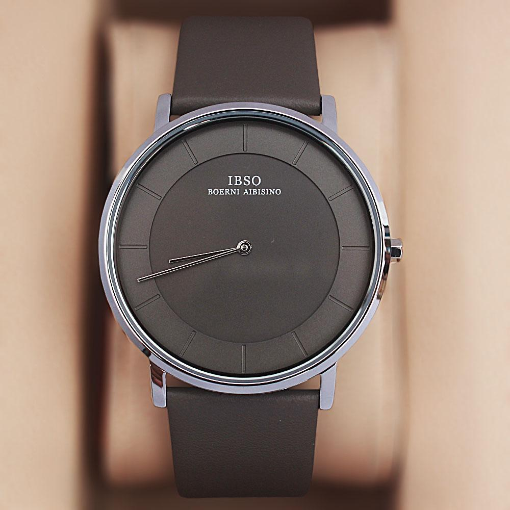 Vintage Gray Leather Flat Watch