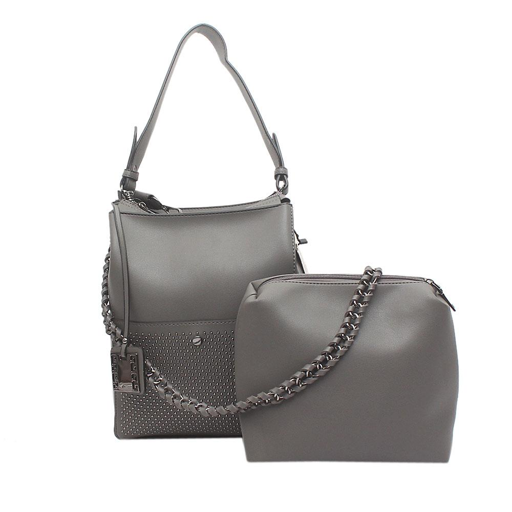 London Style Grey Leather Shoulder Bag Wt Purse