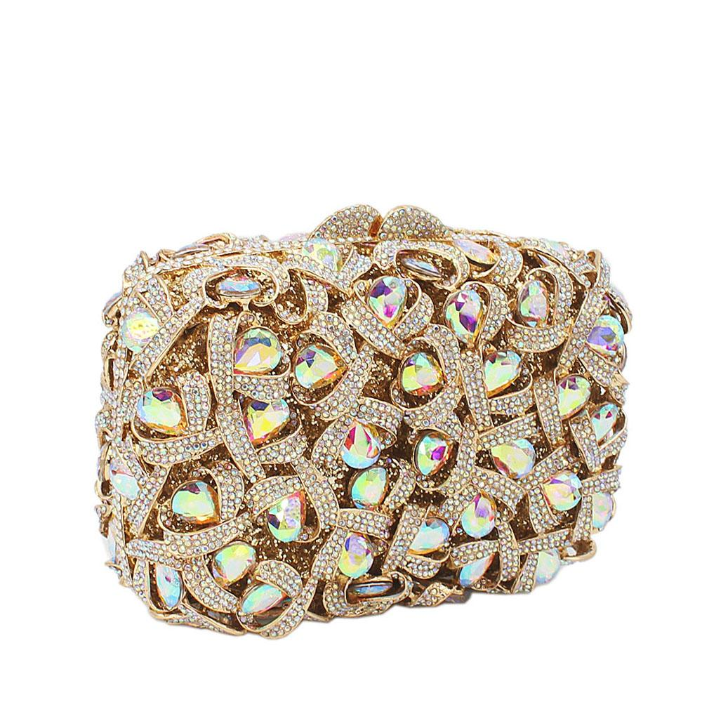 Gold Box Diamante Crystals Clutch Purse
