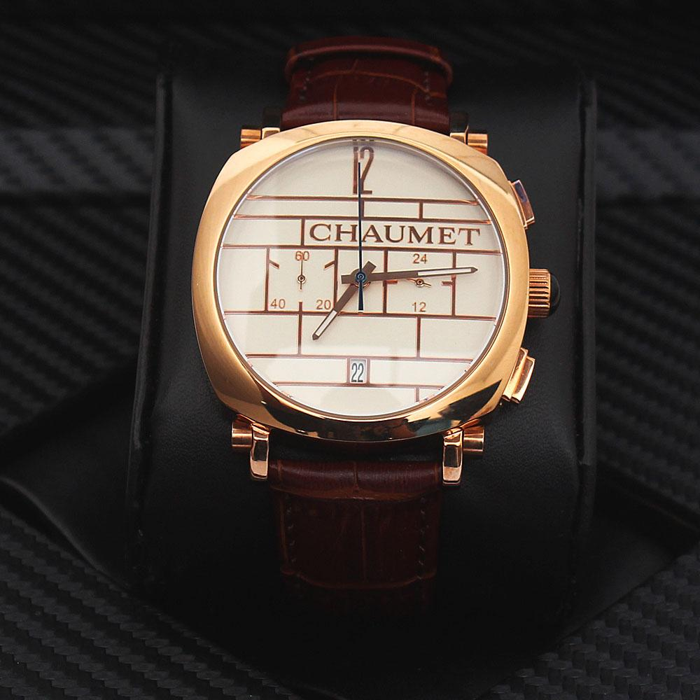 Brown Leather Rose Gold Men Watch
