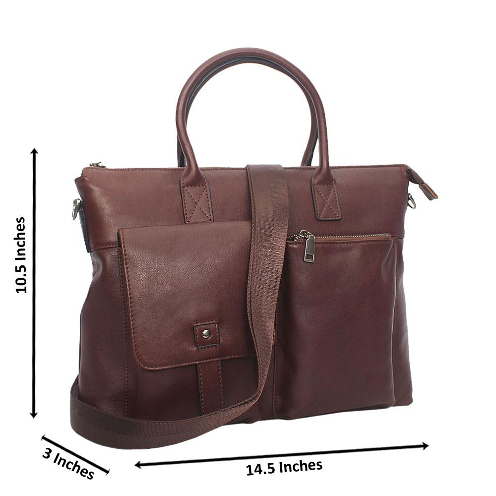 Coffee Double Pocket Smooth Leather Briefcase