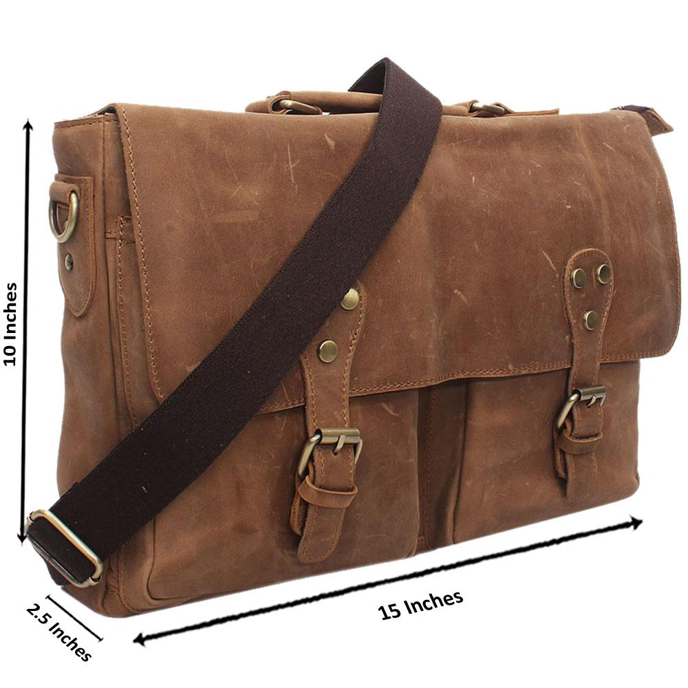 Light Brown Double Pocket Leather Messenger Bag