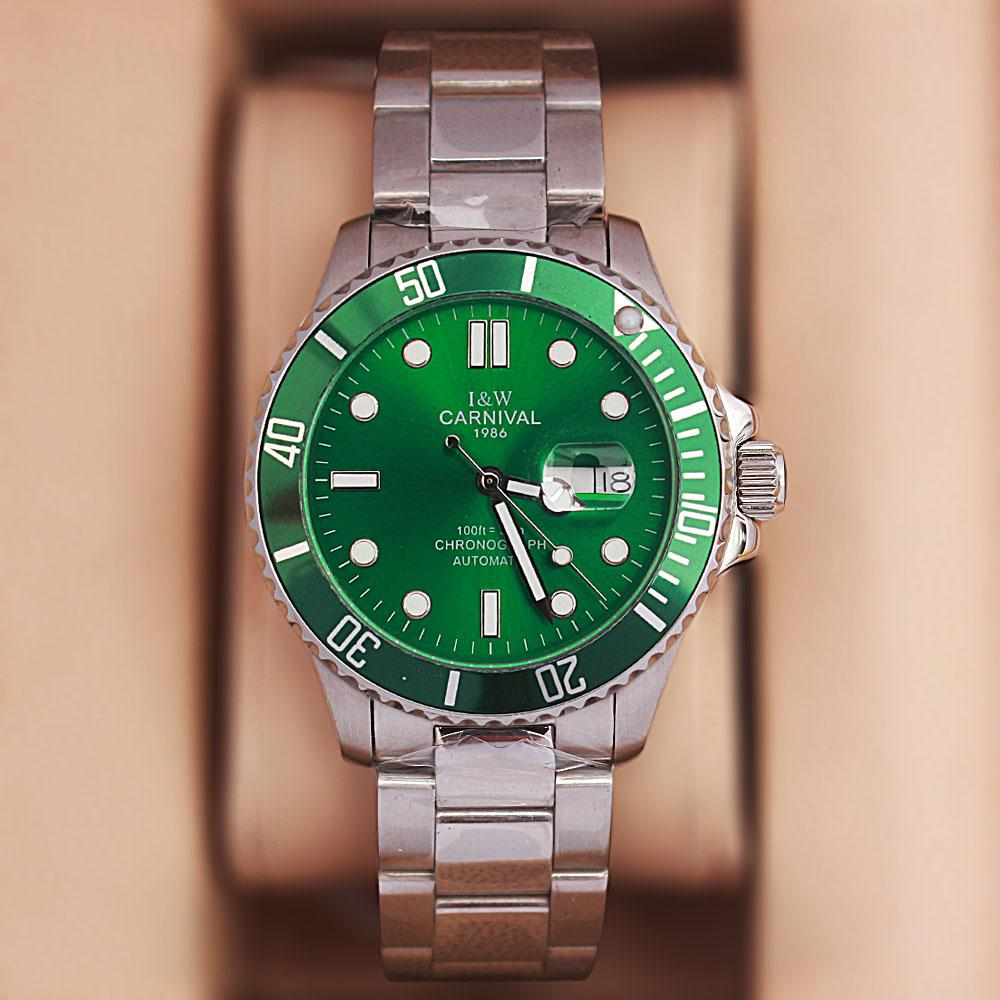 Shanghai Sport GP Silver Green Stainless Steel Automatic Watch