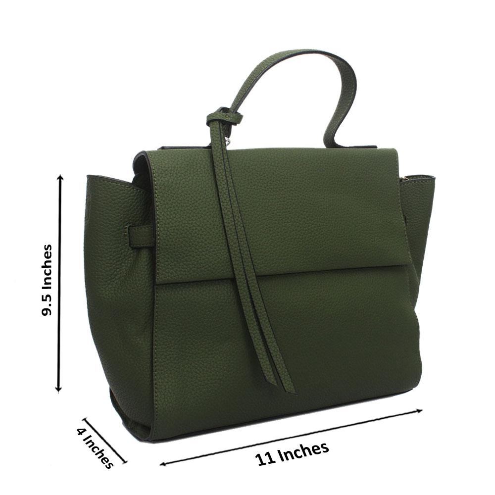 Green Leather Medium Woo Handbag