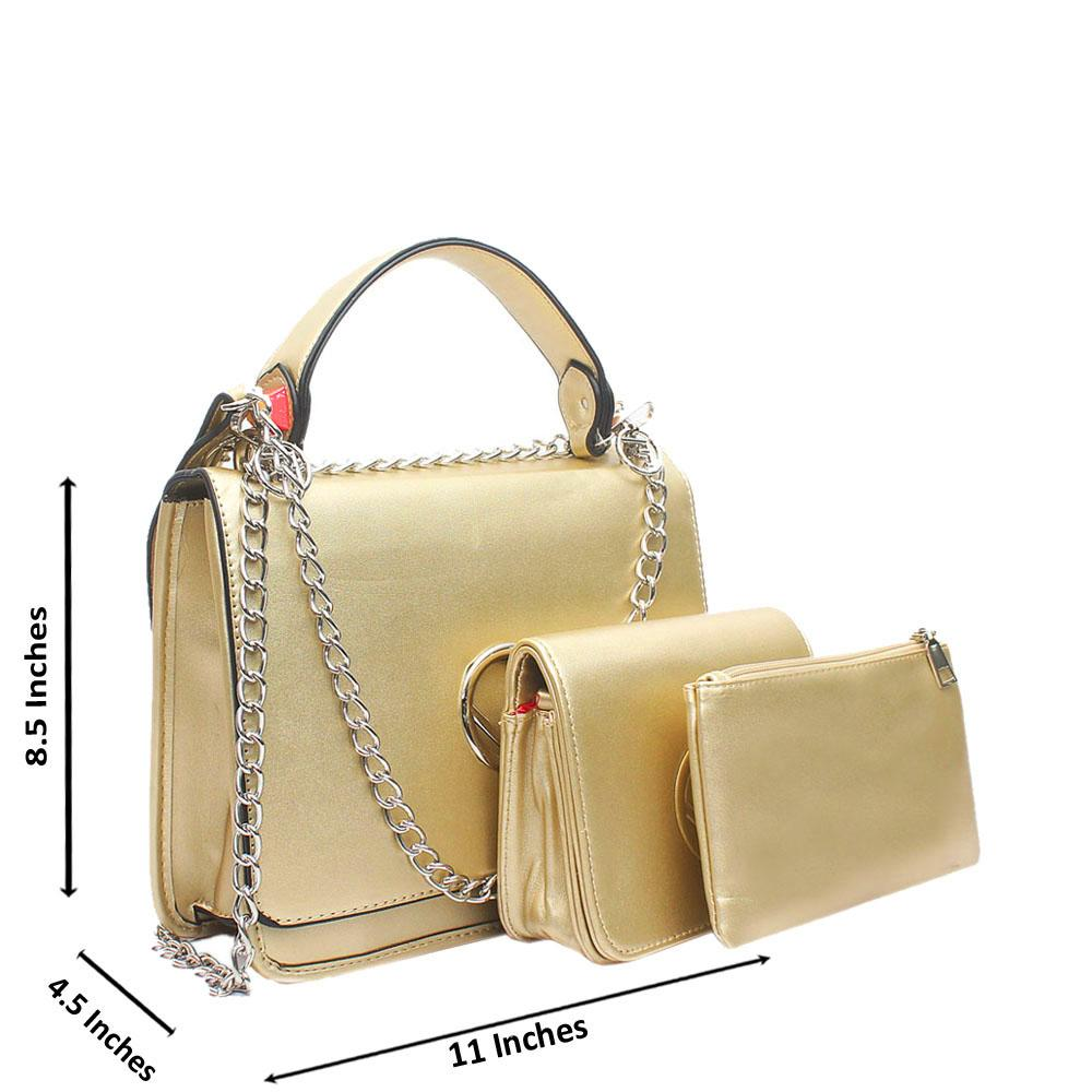 Gold Leather 3 in 1 Handle Bag