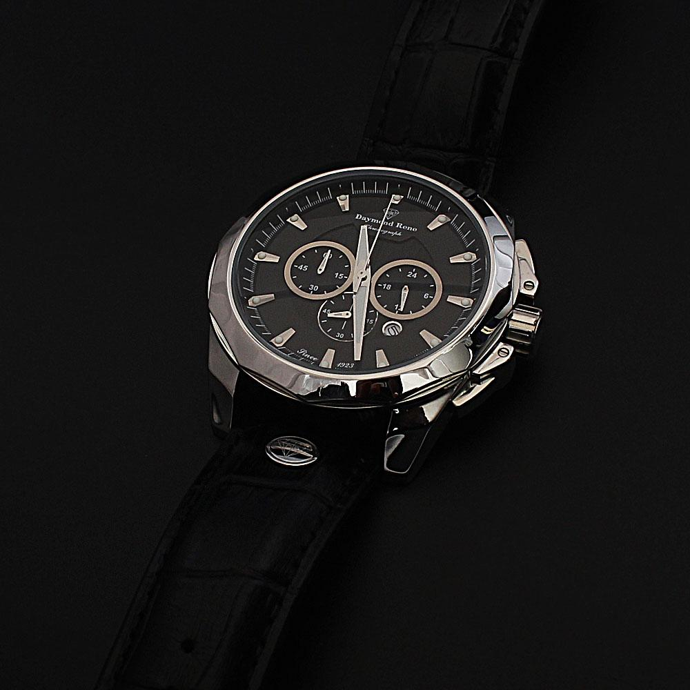 Daymond Rene 3 ATM Silver Black Leather Chronograph Watch