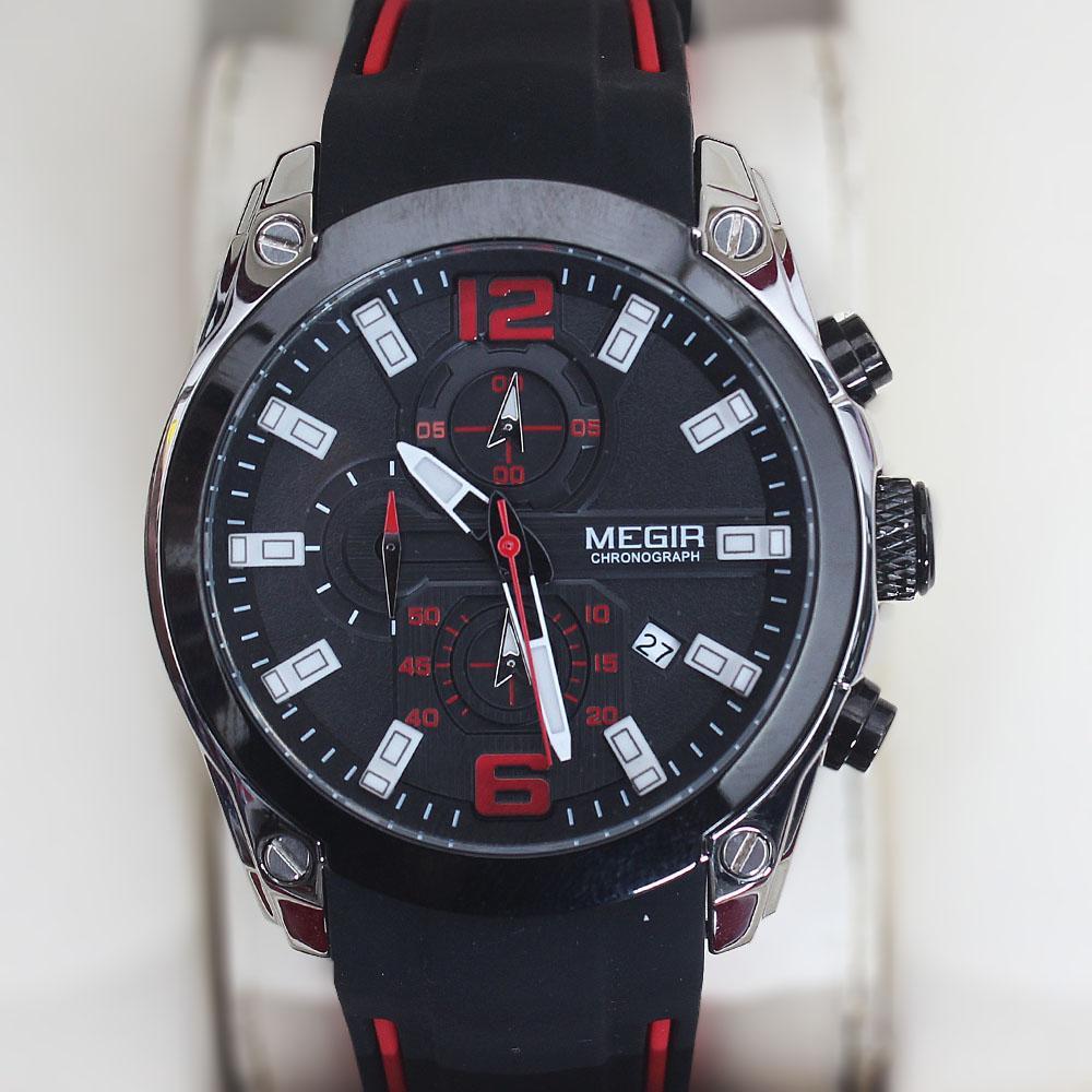 Megir Black Rubber Chronograph Watch