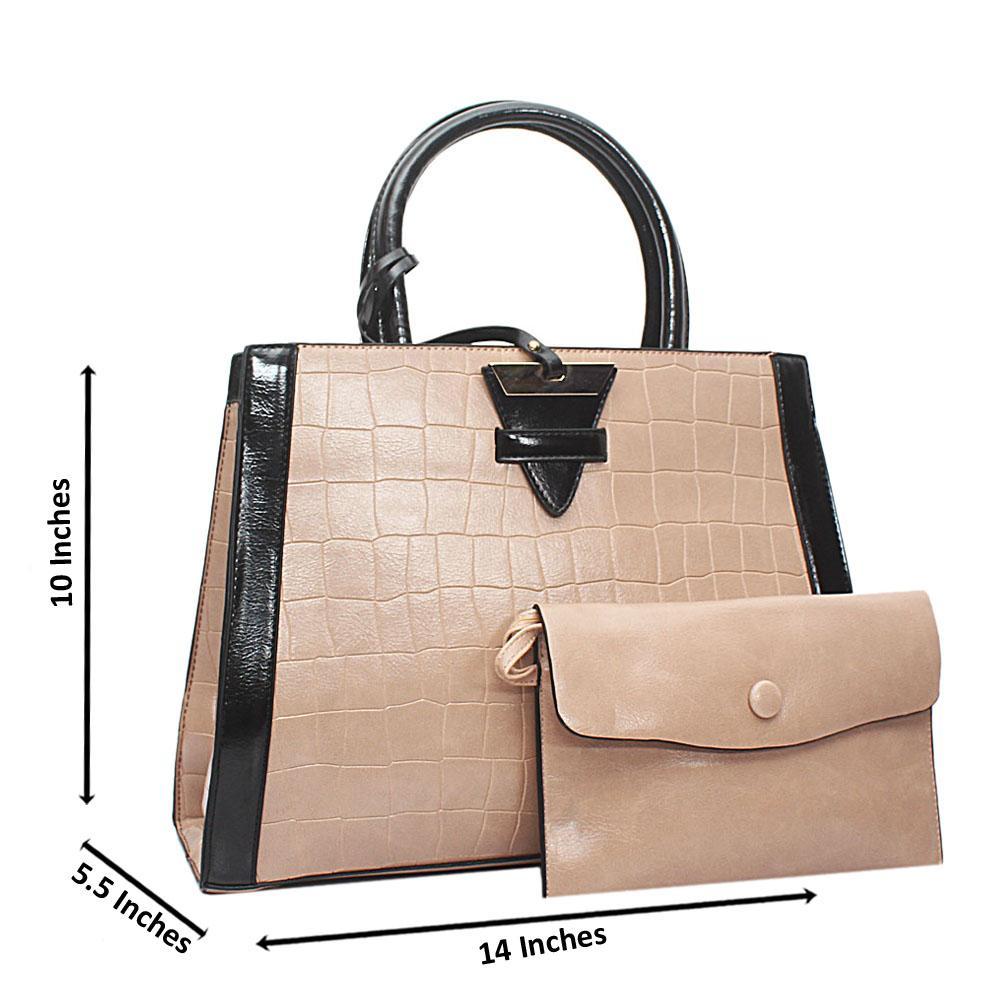 Beige Croc Leather Marcus Handbag