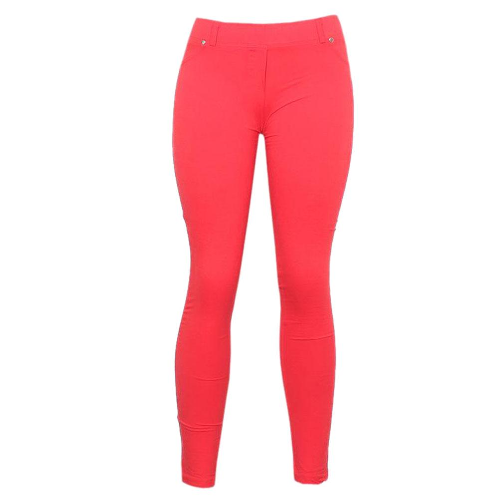 Red-Cotton-Ladies-Jeggings-L