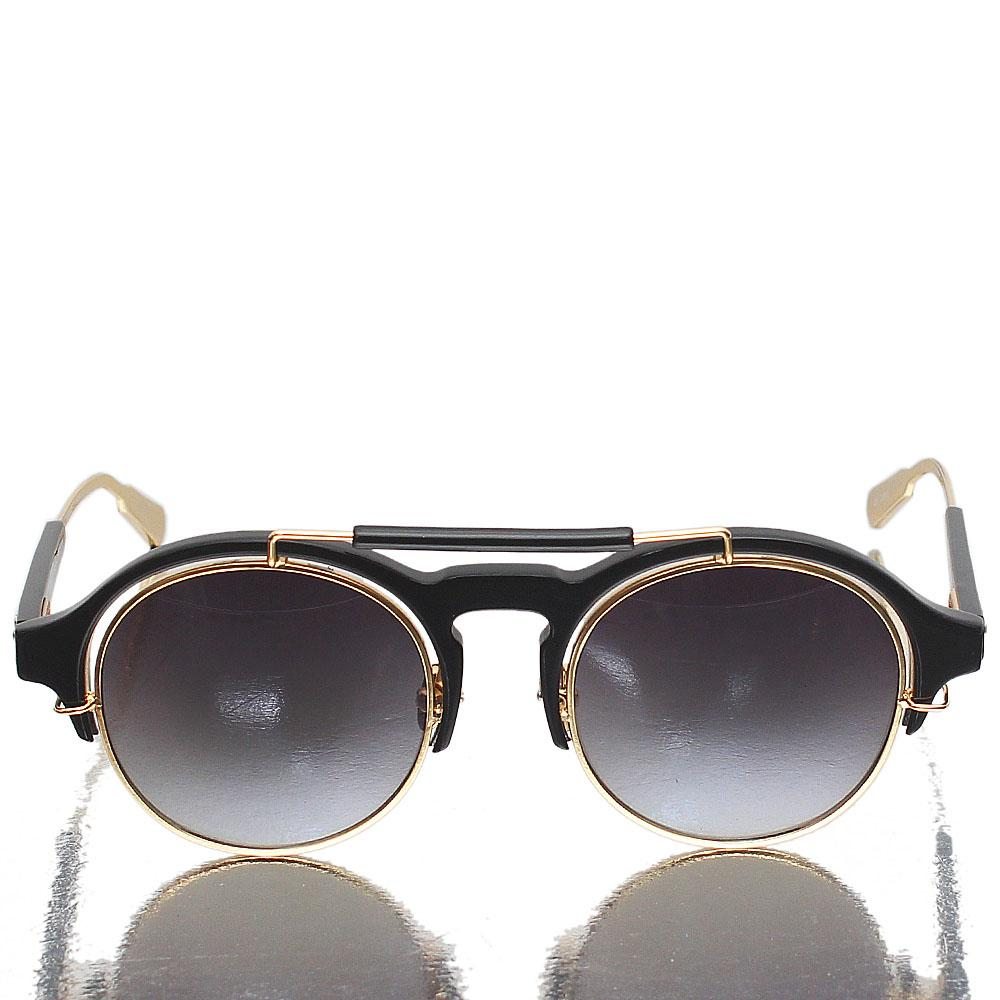 Gold Black Pantos Dark Lens Sunglasses