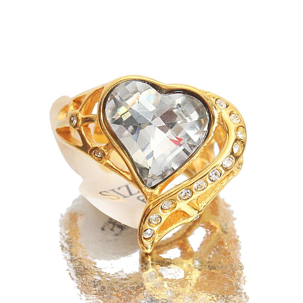 Gold Steel Ice Classic Ladies Ring