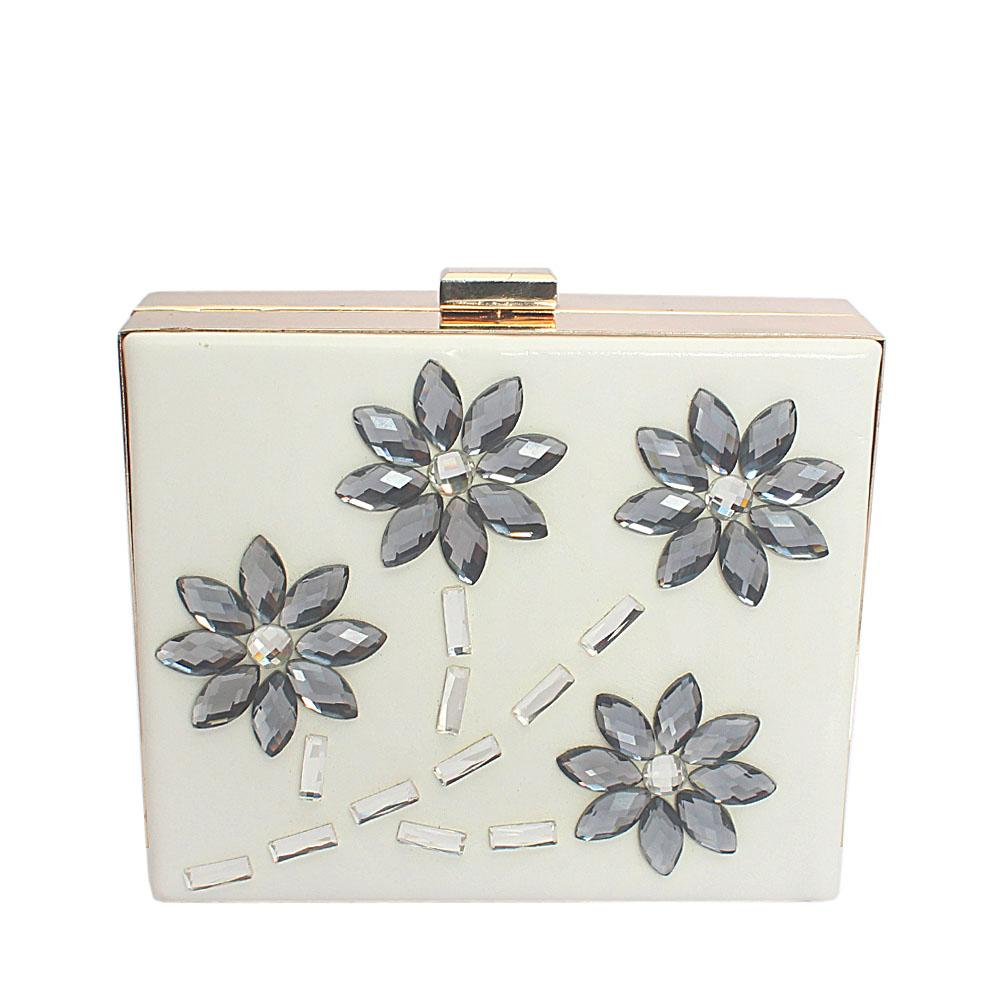 White Square Studded Leather Hard Clutch Purse