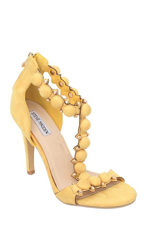 Steve Medden Yellow Suede Heel Sandal