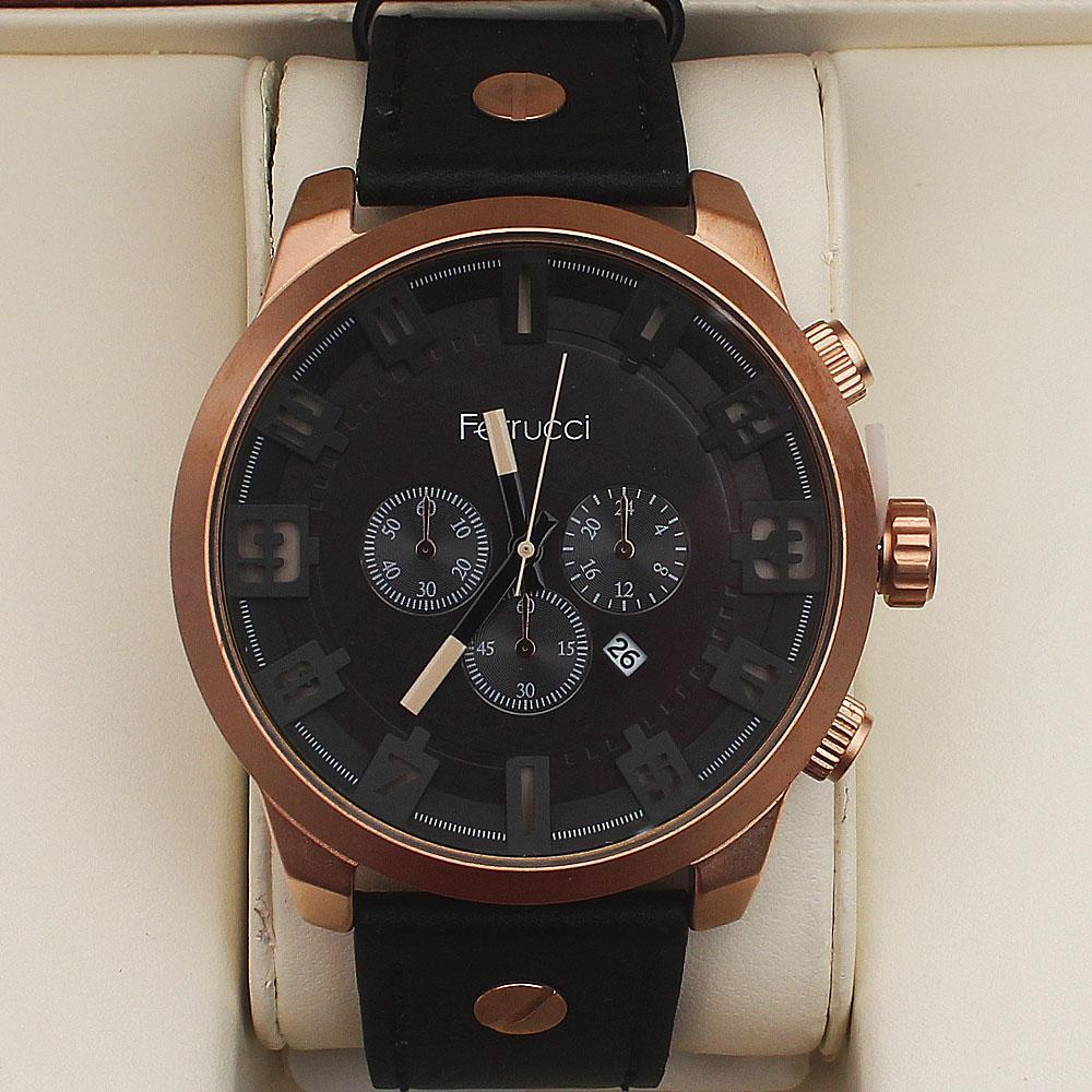 Ferrucci Blue Crossing Fashion Gold Watch wt Leather Strap